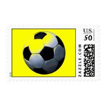 Yellow Pop Art Soccer Postage