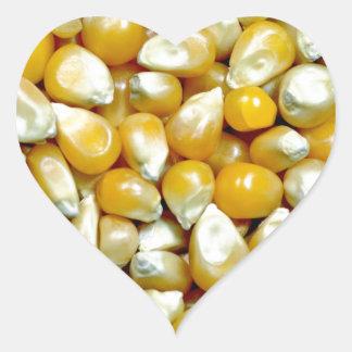 Yellow popcorn kernels pattern heart sticker