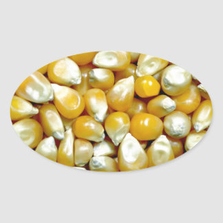 Yellow popcorn kernels pattern oval sticker