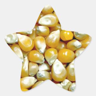 Yellow popcorn kernels pattern star sticker