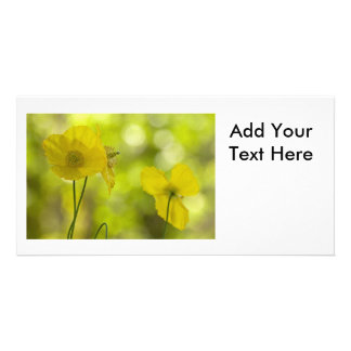 Yellow Poppies Photo Photo Card Template