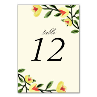 Yellow Poppies Table Number Cards