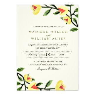 Yellow Poppies Wedding Invitation Invite
