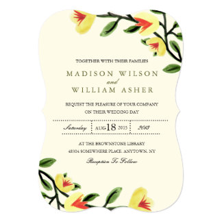 "Yellow Poppies Wedding Invitation 5"" X 7"" Invitation Card"