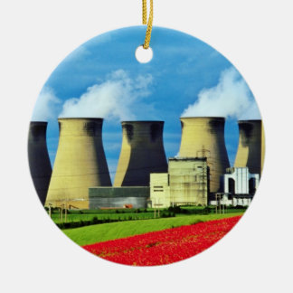 Yellow Poppy field and Ferrybridge power station Christmas Tree Ornaments