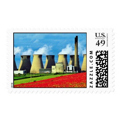 Yellow Poppy field and Ferrybridge power station, Postage Stamp