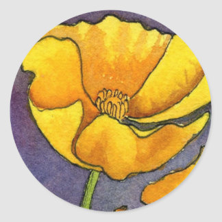 """Yellow Poppy"" Floral Sticker"