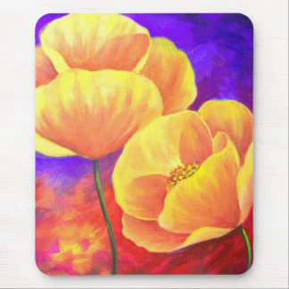 Yellow Poppy Flower Painting Art Mouse Pad