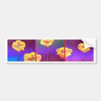Yellow Poppy Flower Painting - Multi Car Bumper Sticker