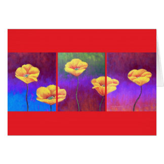 Yellow Poppy Flower Painting - Multi Greeting Card