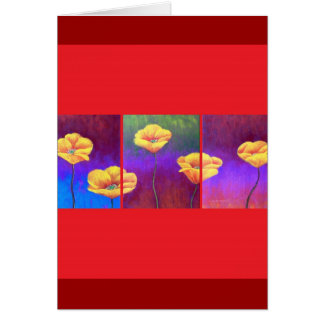 Yellow Poppy Flower Painting - Multi Greeting Cards
