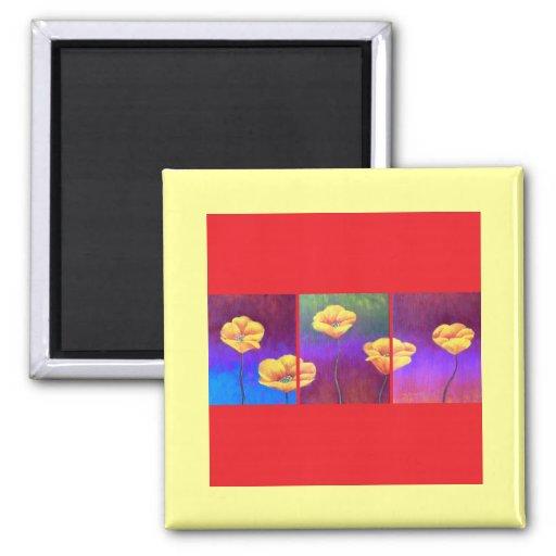 Yellow Poppy Flower Painting - Multi Fridge Magnet
