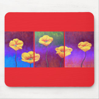 Yellow Poppy Flower Painting - Multi Mouse Pad