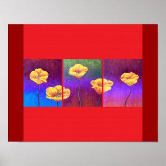 Yellow Poppy Flower Painting - Multi Poster