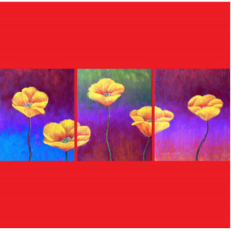 Yellow Poppy Flower Painting - Multi Statuette