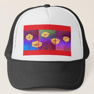 Yellow Poppy Flower Painting - Multi Trucker Hat