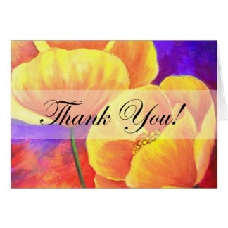 Yellow Poppy Flower Thank You Card Art - Multi