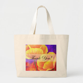 Yellow Poppy Flower Thank You Card Art - Multi Canvas Bags