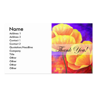 Yellow Poppy Flower Thank You Card Art - Multi Business Cards