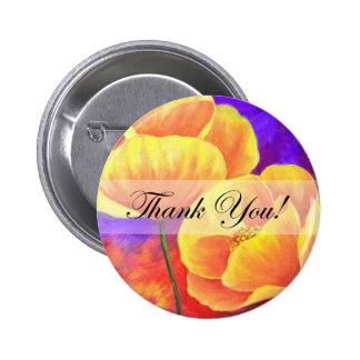 Yellow Poppy Flower Thank You Card Art - Multi Buttons
