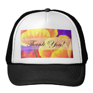 Yellow Poppy Flower Thank You Card Art - Multi Hats