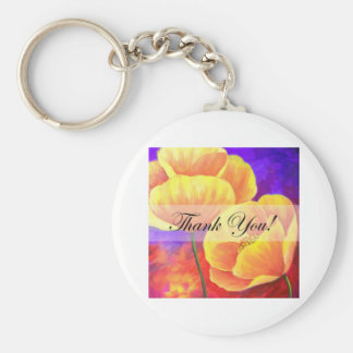 Yellow Poppy Flower Thank You Card Art - Multi Key Chains