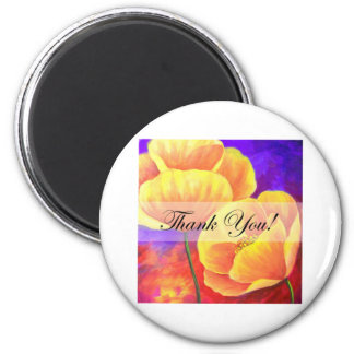 Yellow Poppy Flower Thank You Card Art - Multi Refrigerator Magnets