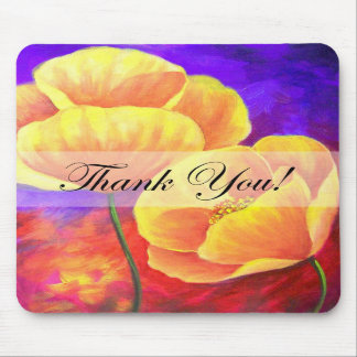 Yellow Poppy Flower Thank You Card Art - Multi Mouse Pad