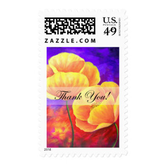 Yellow Poppy Flower Thank You Card Art - Multi Stamp