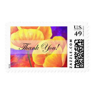 Yellow Poppy Flower Thank You Card Art - Multi Postage Stamp