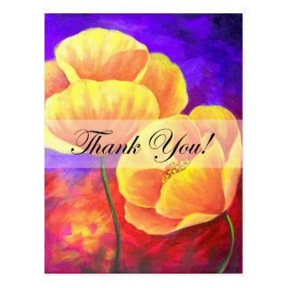 Yellow Poppy Flower Thank You Card Art - Multi Post Cards