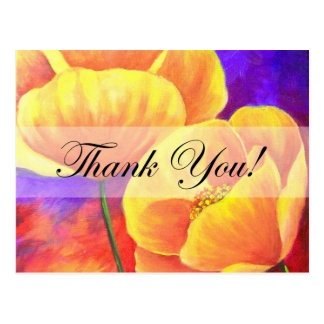 Yellow Poppy Flower Thank You Card Art - Multi Postcards