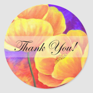 Yellow Poppy Flower Thank You Card Art - Multi Stickers