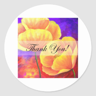 Yellow Poppy Flower Thank You Card Art - Multi Round Stickers