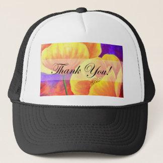 Yellow Poppy Flower Thank You Card Art - Multi Trucker Hat
