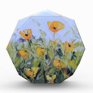 Yellow Poppy Garden Painting, Yellow Poppies, Art Acrylic Award