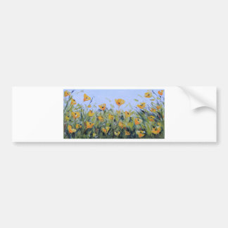 Yellow Poppy Garden Painting, Yellow Poppies, Art Bumper Sticker