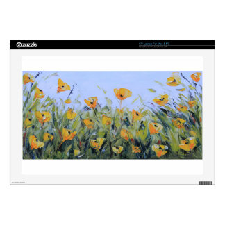 Yellow Poppy Garden Painting, Yellow Poppies, Art Decals For Laptops