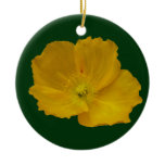Yellow Poppy Pretty Alaskan Wildflower Ceramic Ornament