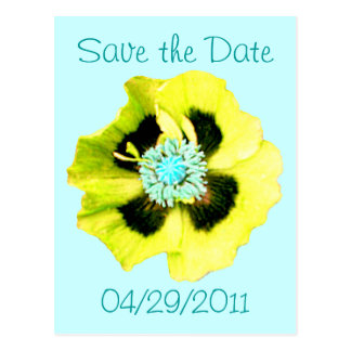 Yellow Poppy 'Save the Date' postcard blue