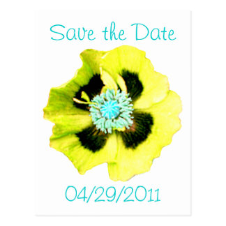 Yellow Poppy 'Save the Date' postcard white