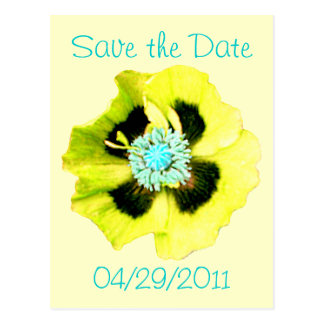 Yellow Poppy 'Save the Date' postcard yellow