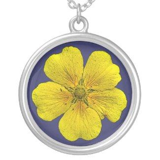 Yellow potentilla flower pendant necklace necklace