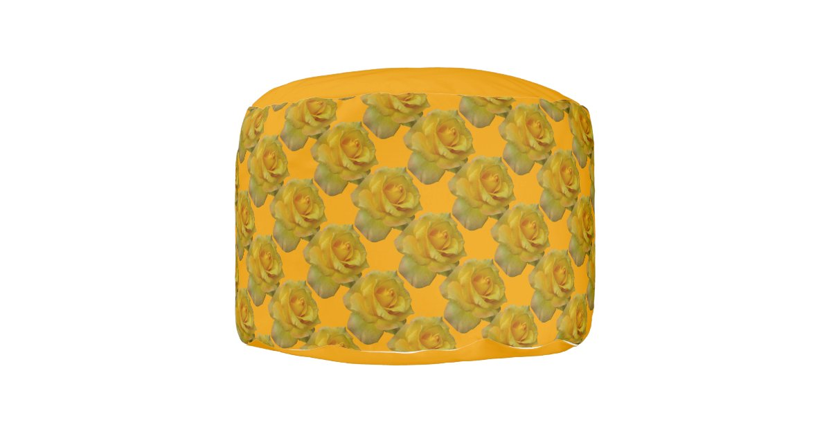 yellow pouf ottoman gold rose pillow footstool zazzle. Black Bedroom Furniture Sets. Home Design Ideas