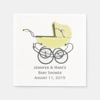 Yellow Pram Custom Baby Shower Paper Napkins