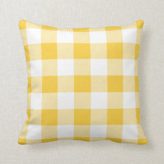 Yellow Preppy Buffalo Check Plaid Throw Pillow
