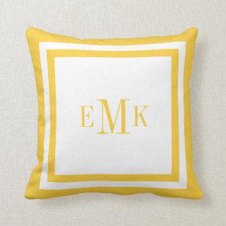 Yellow Preppy Ribbon Dots Custom Monogram Throw Pillow