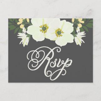 Yellow Pretty Anemones Floral RSVP II Invitation Postcard