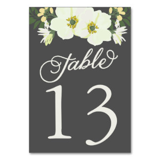 Yellow Pretty Anemones Floral Table Numbers Card