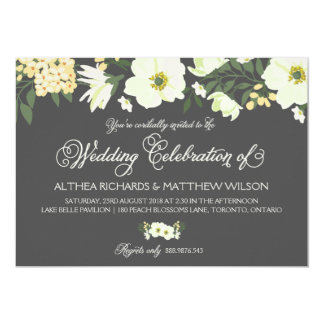 Yellow Pretty Anemones Floral Wedding II Card